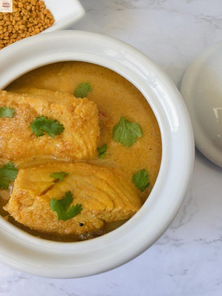 Bowl of Kerala fish curry.